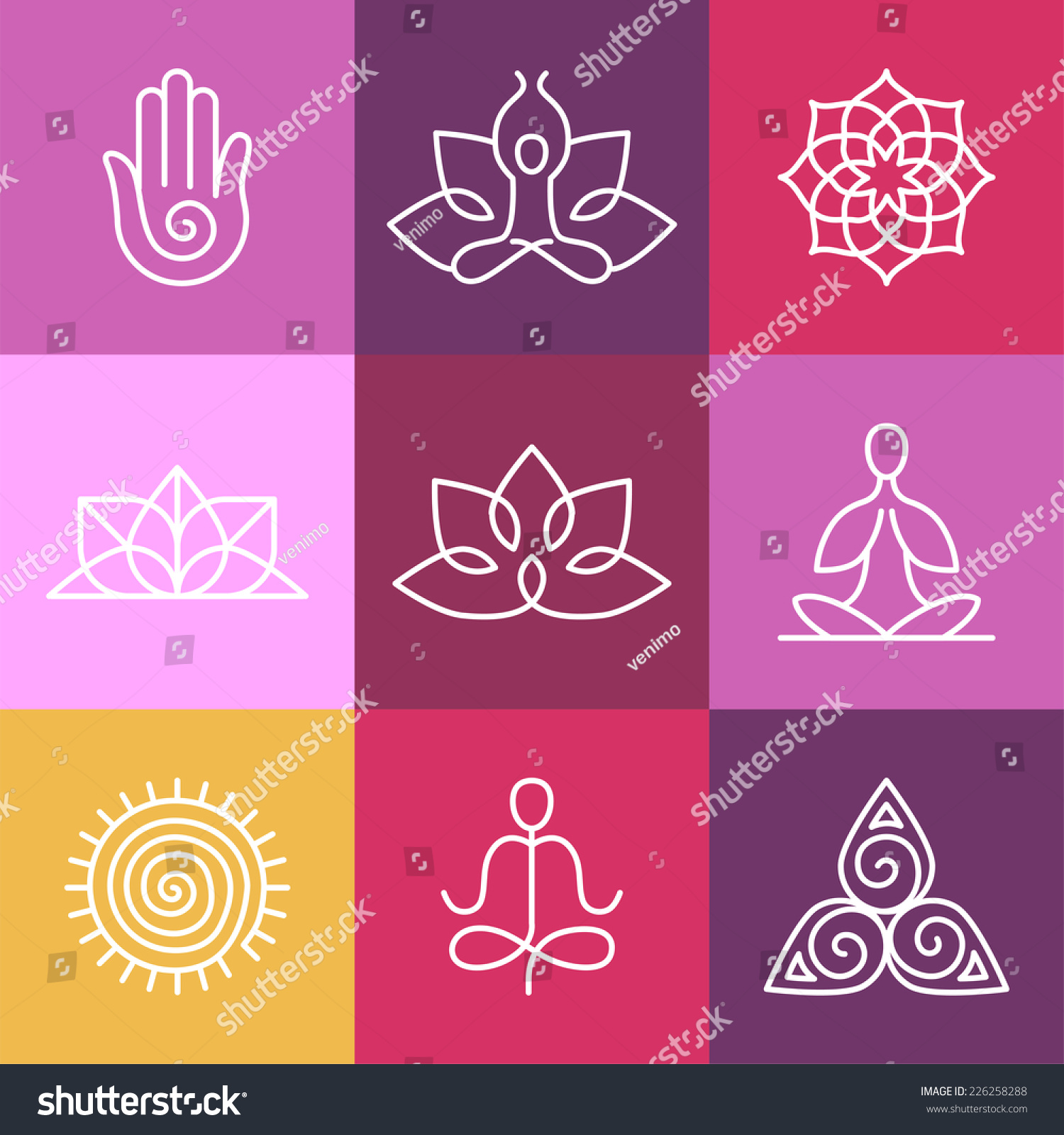 Graphic Design Elements Line : Vector yoga icons round line badges stock