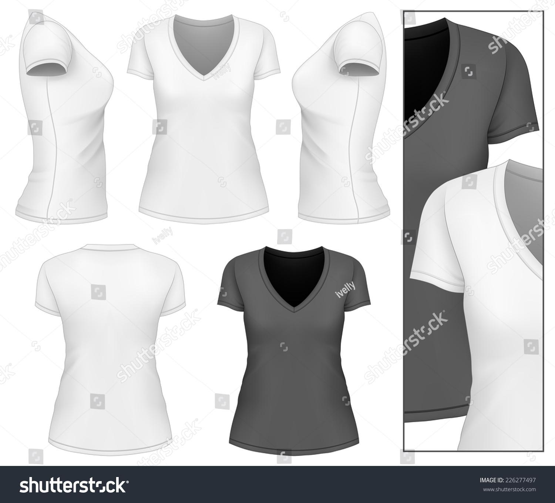 Womens Vneck Tshirt Design Template Front Stock Vector