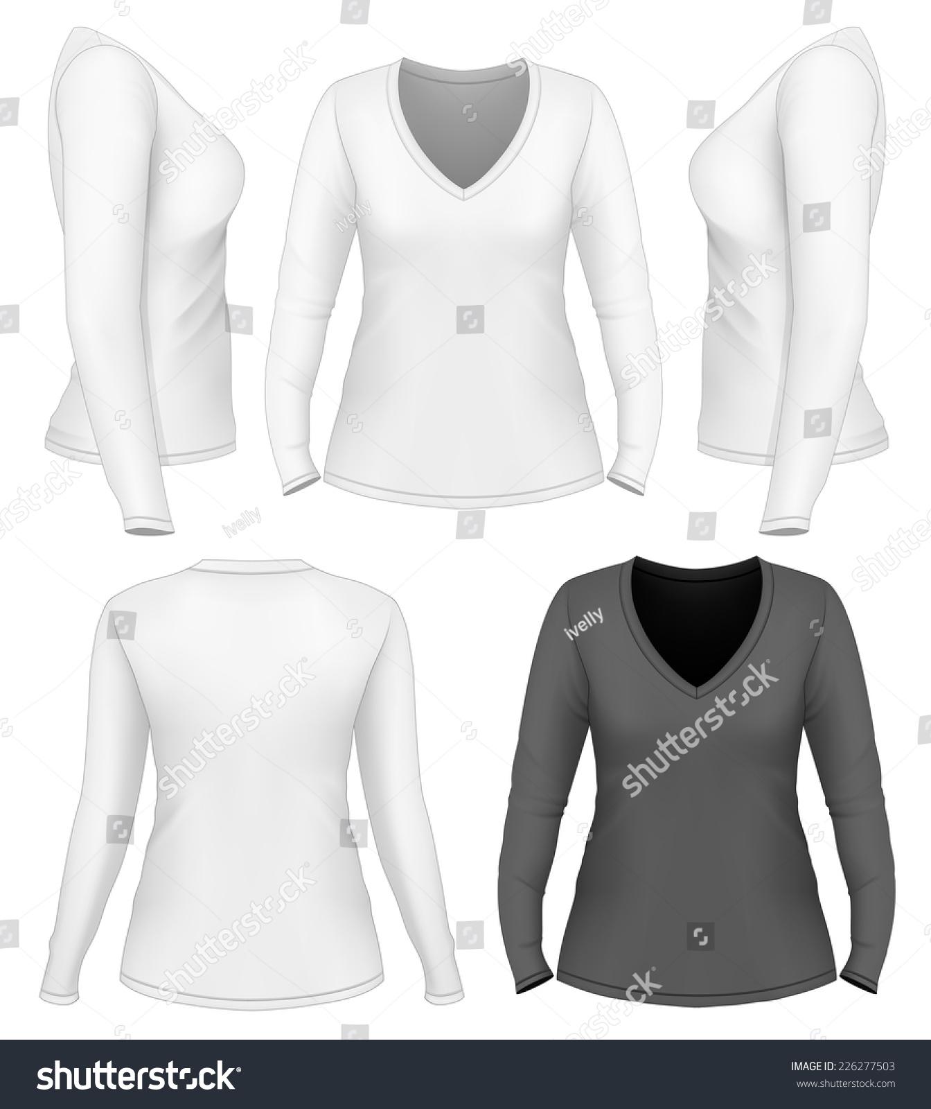 women 39 s v neck long sleeve t shirt design template front back side views vector. Black Bedroom Furniture Sets. Home Design Ideas
