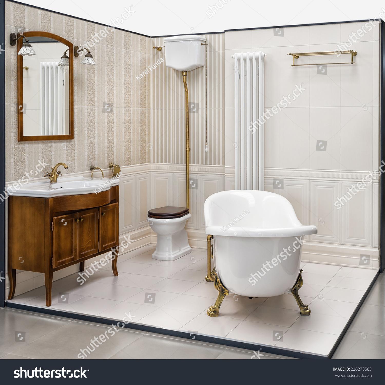 Beautiful Retro Bathroom Built Showroom Bathroom Stock Photo ...