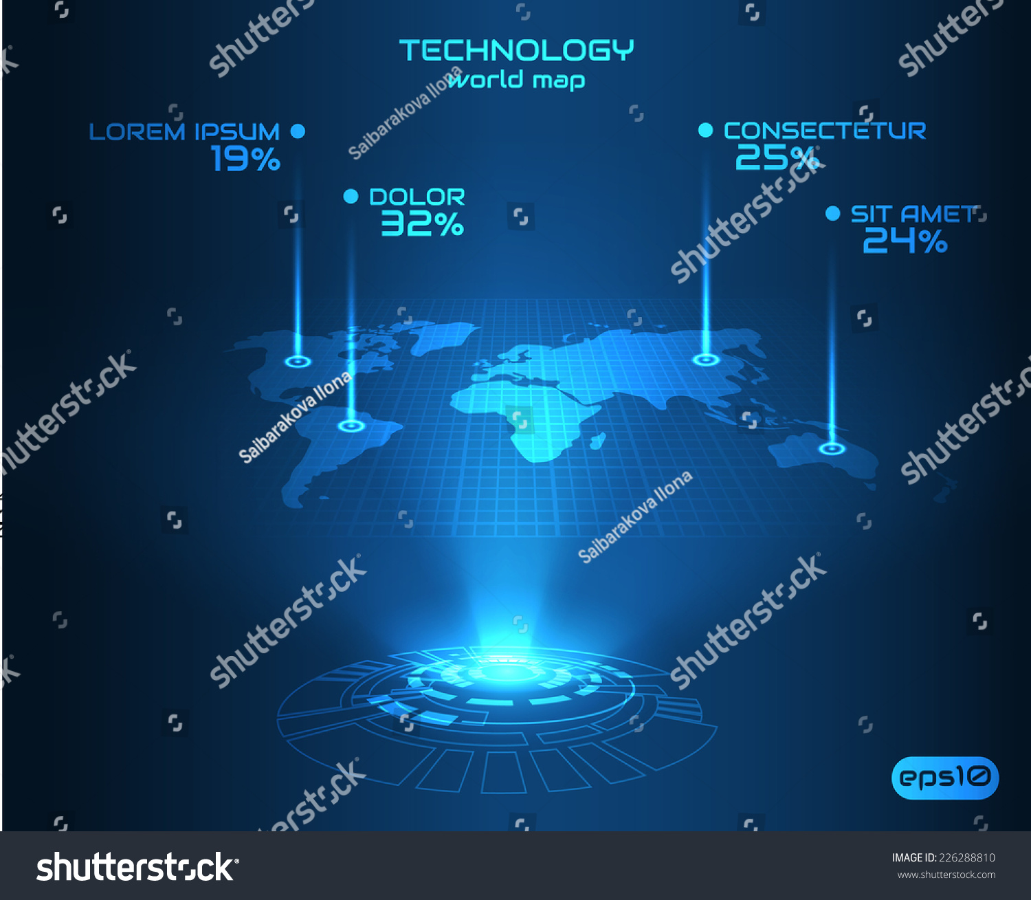 Hologram world map background perspective vector vectores en stock hologram world map background in perspective vector eps10 gumiabroncs Choice Image
