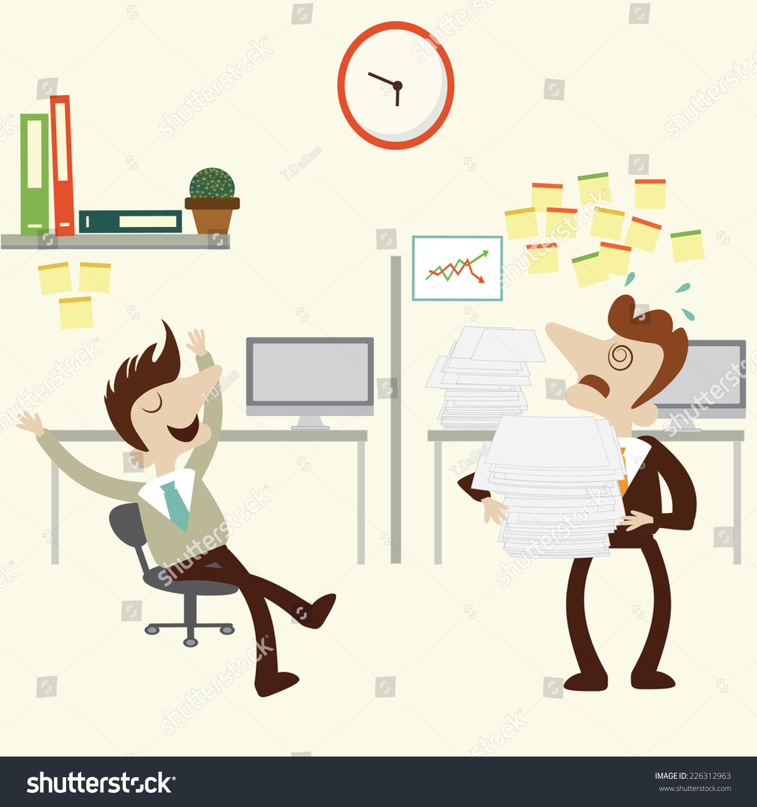 Overload Business Man Pile Stack Paper Stock Vector 226312963 ...