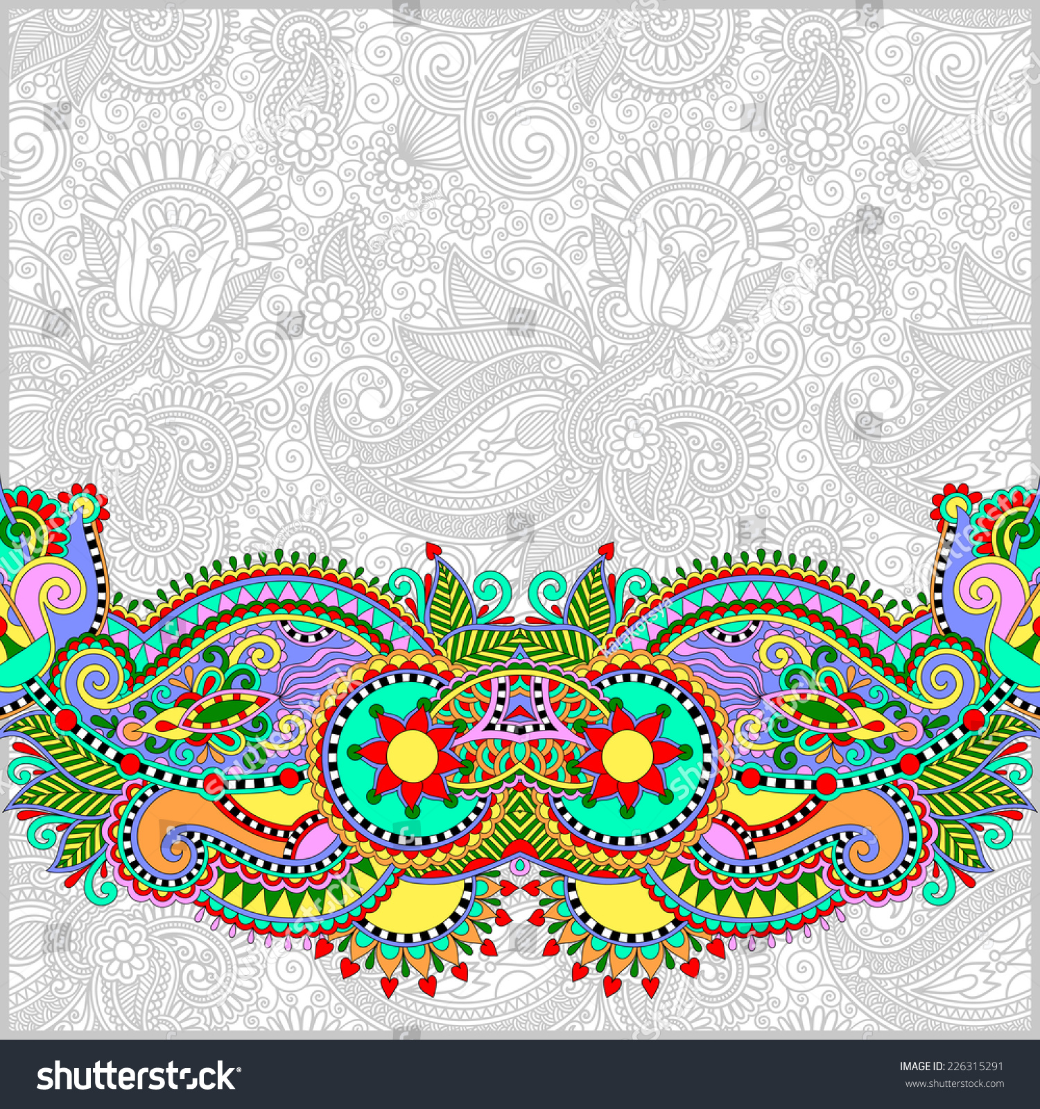 Paisley Design On Decorative Floral Background Stock Vector Royalty