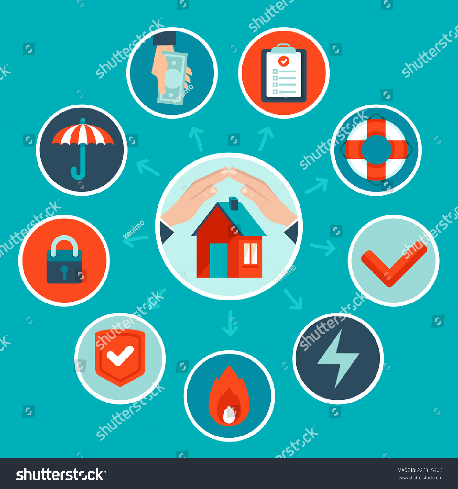 Vector house insurance concept flat style stock vector 226315906 shutterstock - Home design elements ...