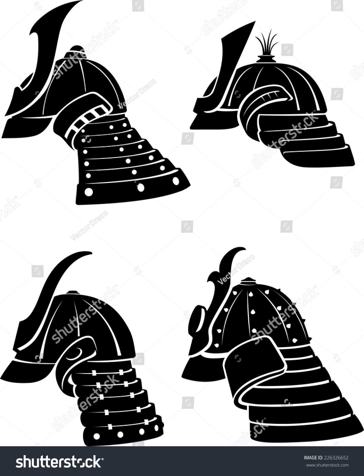 Samurai Helmet Side View Set Stock Vector 226326652 - Shutterstock