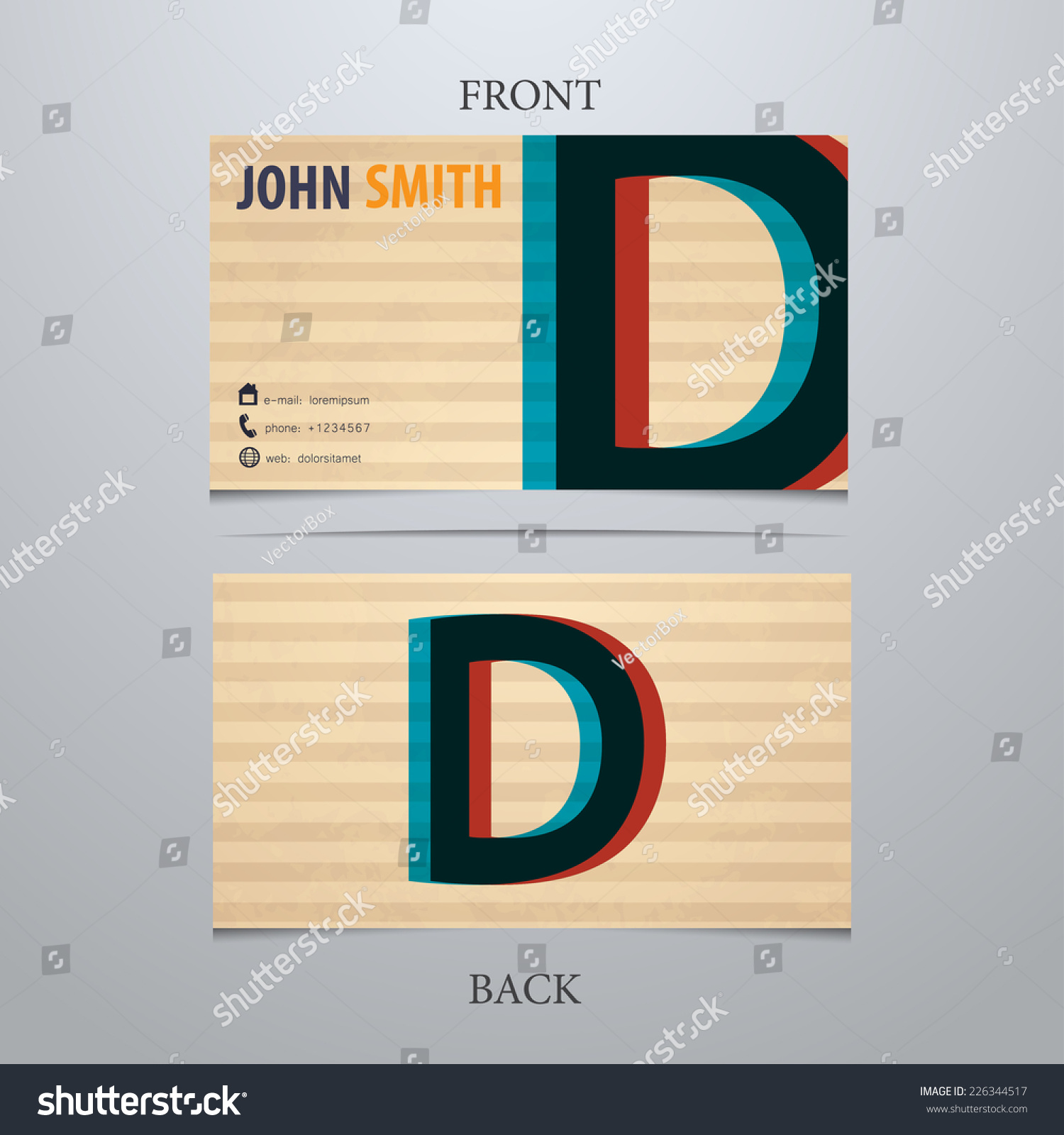 Business card template letter d stock vector 226344517 shutterstock business card template letter d colourmoves
