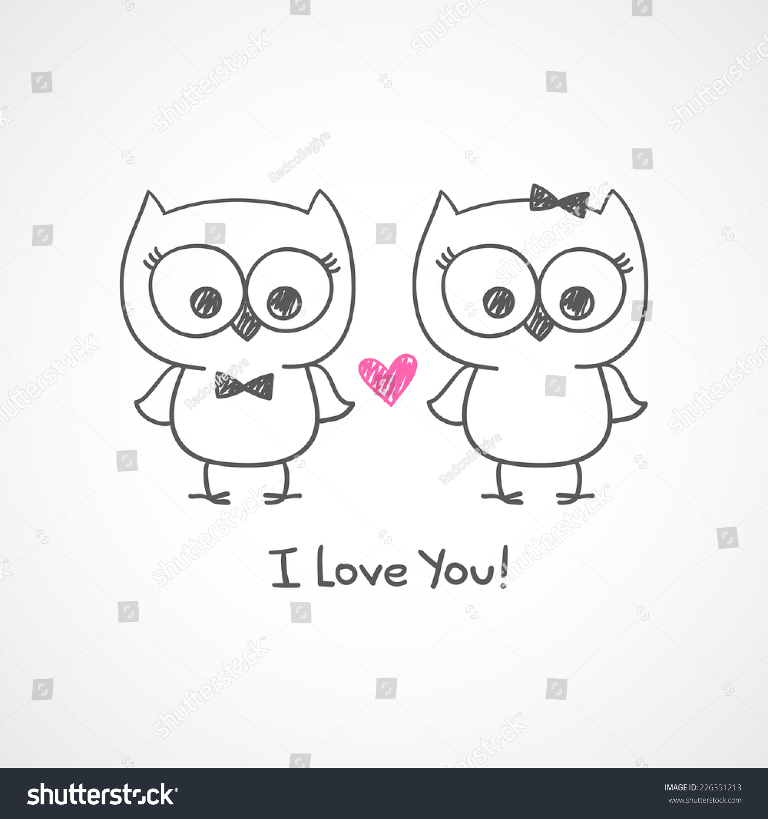 Cute Owls Couple Vector Hand Drawn Stock Vector 226351213 ...