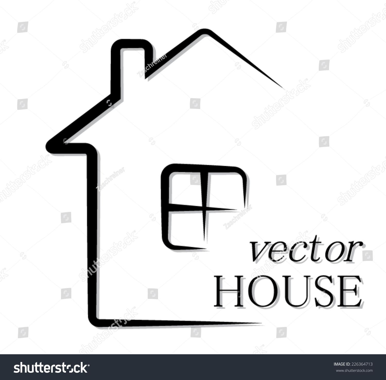 Simple outline house vector pictogram illustration for Modern house clipart