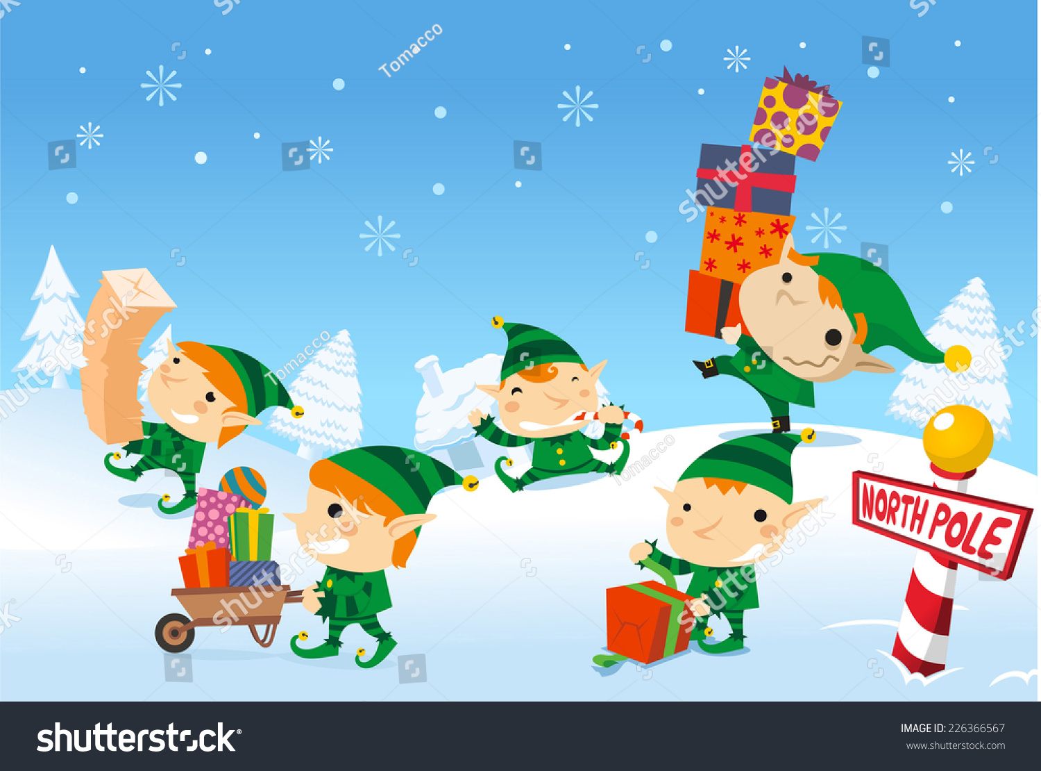 santas elves working at the north pole carrying santa claus presents for the children - Santa And The North Pole