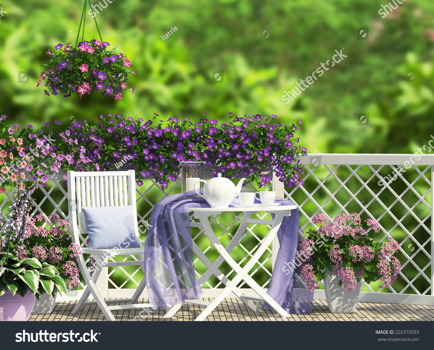 Beautiful open terrace white furniture stock illustration for Terrace white