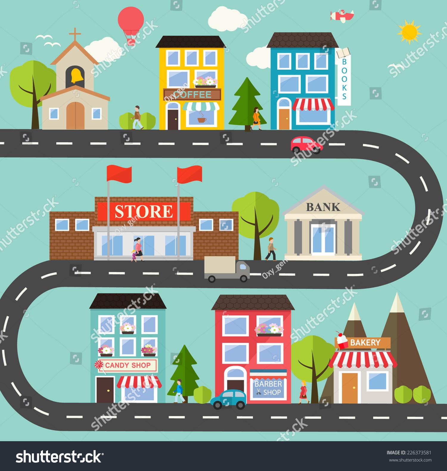 Small Town Urban Landscape Flat Design Stock Vector