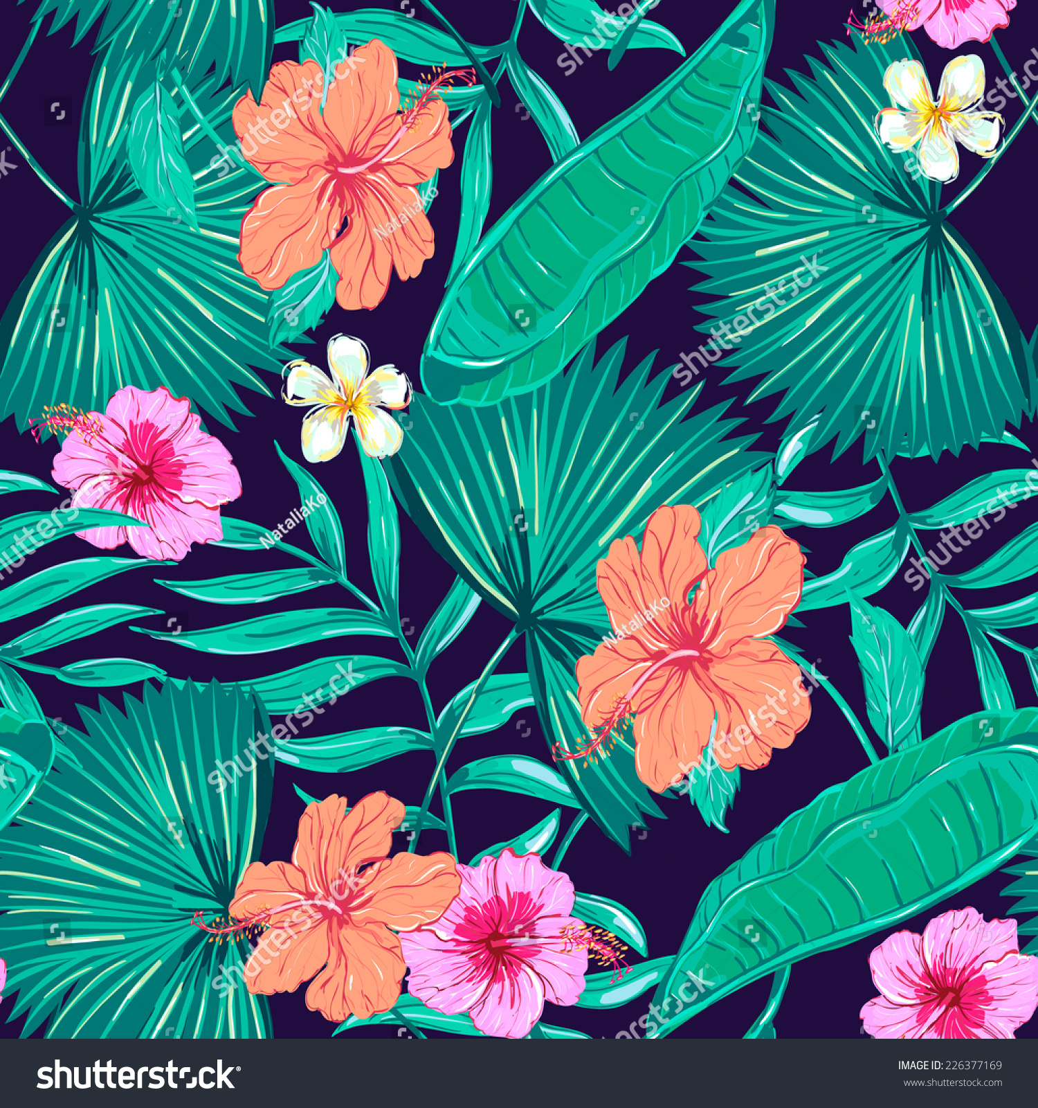 Beautiful Seamless Floral Pattern Background Tropical Stock Vector