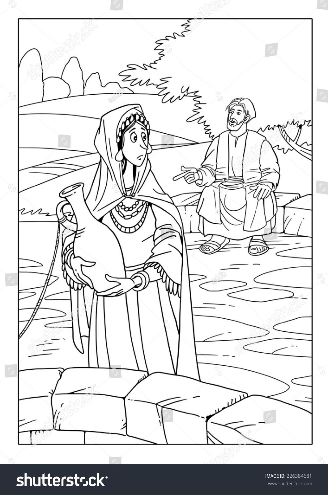 Jesus Talking Samaritan Woman Well Stock Illustration 226384681 ...