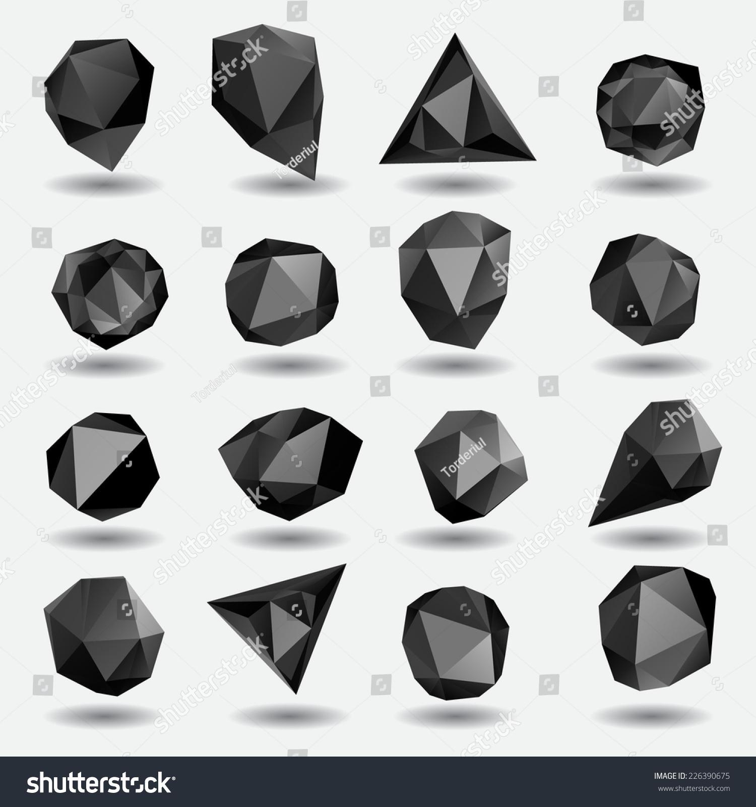 Black Diamond Polygon Triangle Stone 3d Stock Vector 226390675 ...