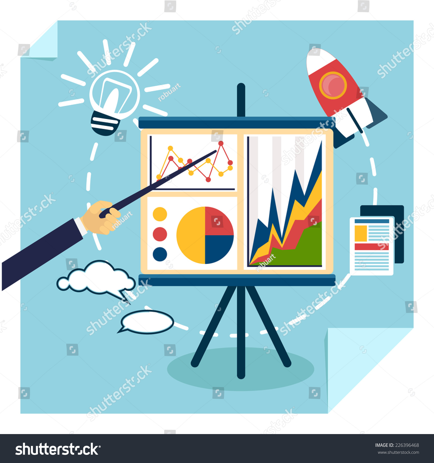 flat design presentation business development concept stock vector, Powerpoint templates