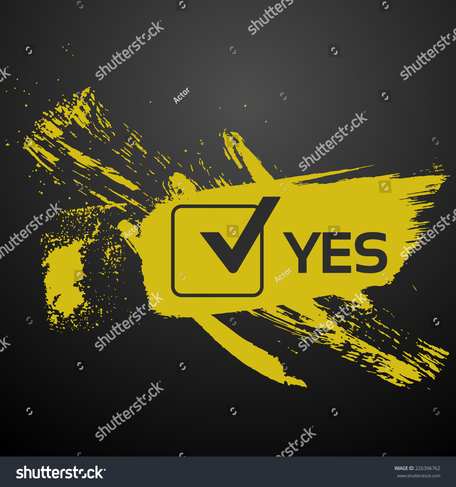 Yes Make Stencil Lettering Yellow Paint Stock Vector Royalty Free