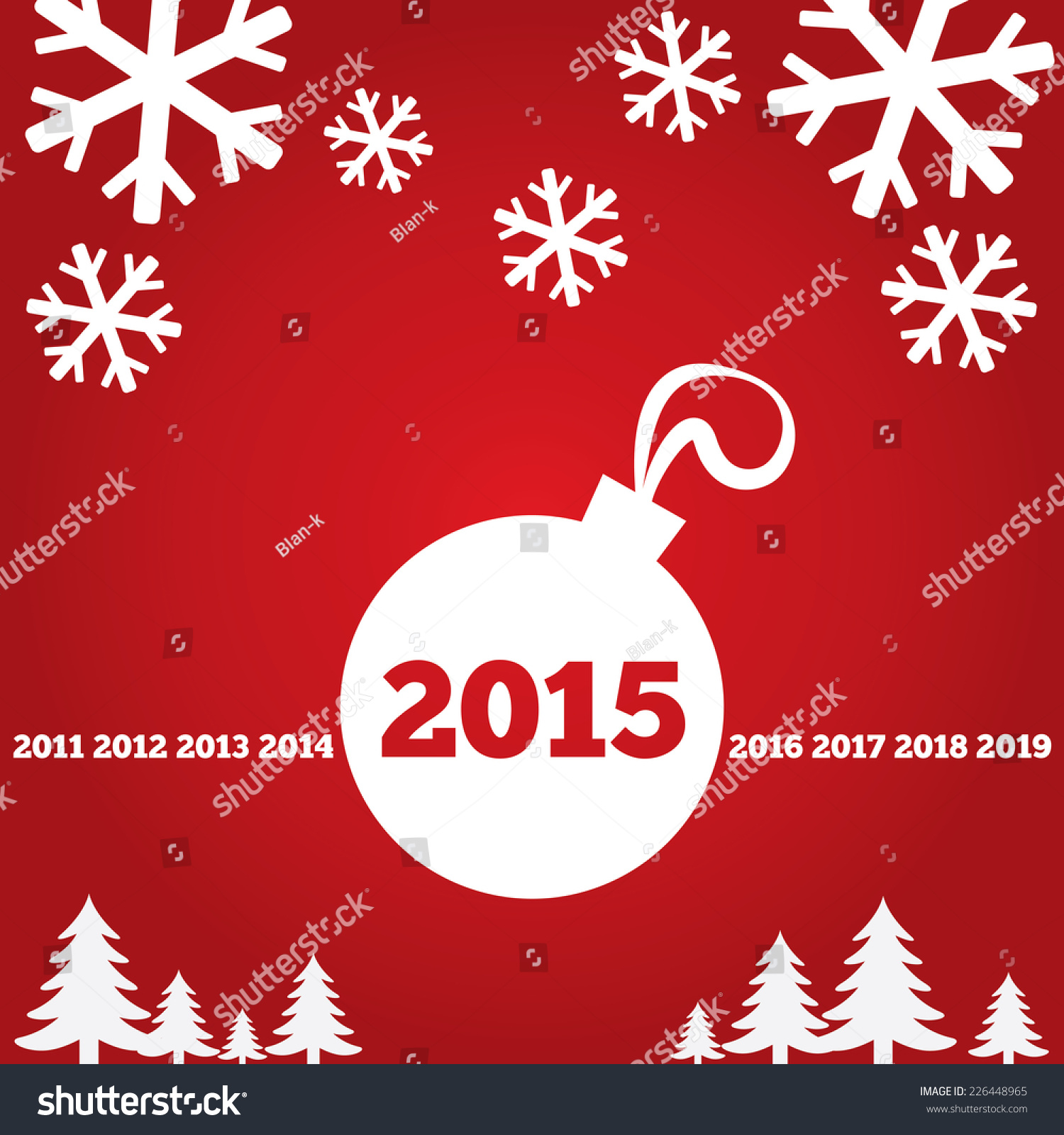 Happy new year greetings card flat stock vector 226448965 shutterstock happy new year greetings card with flat icons 2015 christmas ball tree m4hsunfo