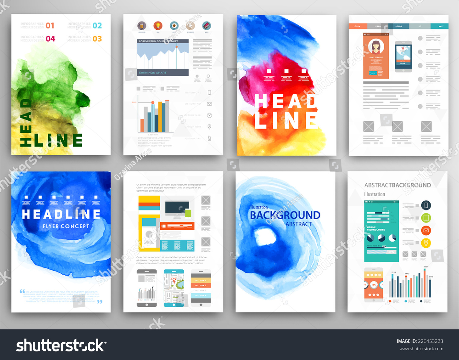 Set vector poster templates watercolor paint stock vector 226453228 set vector poster templates watercolor paint stock vector 226453228 shutterstock friedricerecipe Gallery