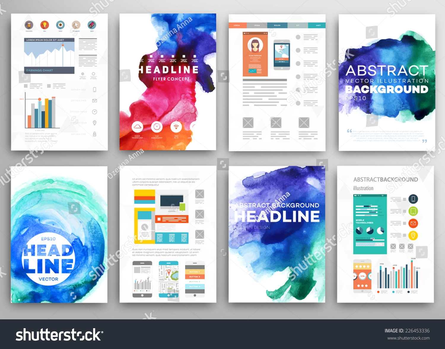 set of vector poster templates watercolor paint splash save to a lightbox