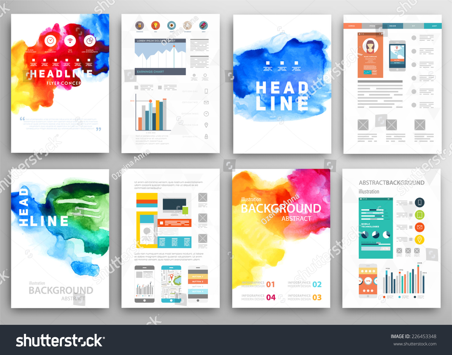 Set vector poster templates watercolor paint stock vector royalty set of vector poster templates with watercolor paint splash abstract background for business documents accmission Gallery