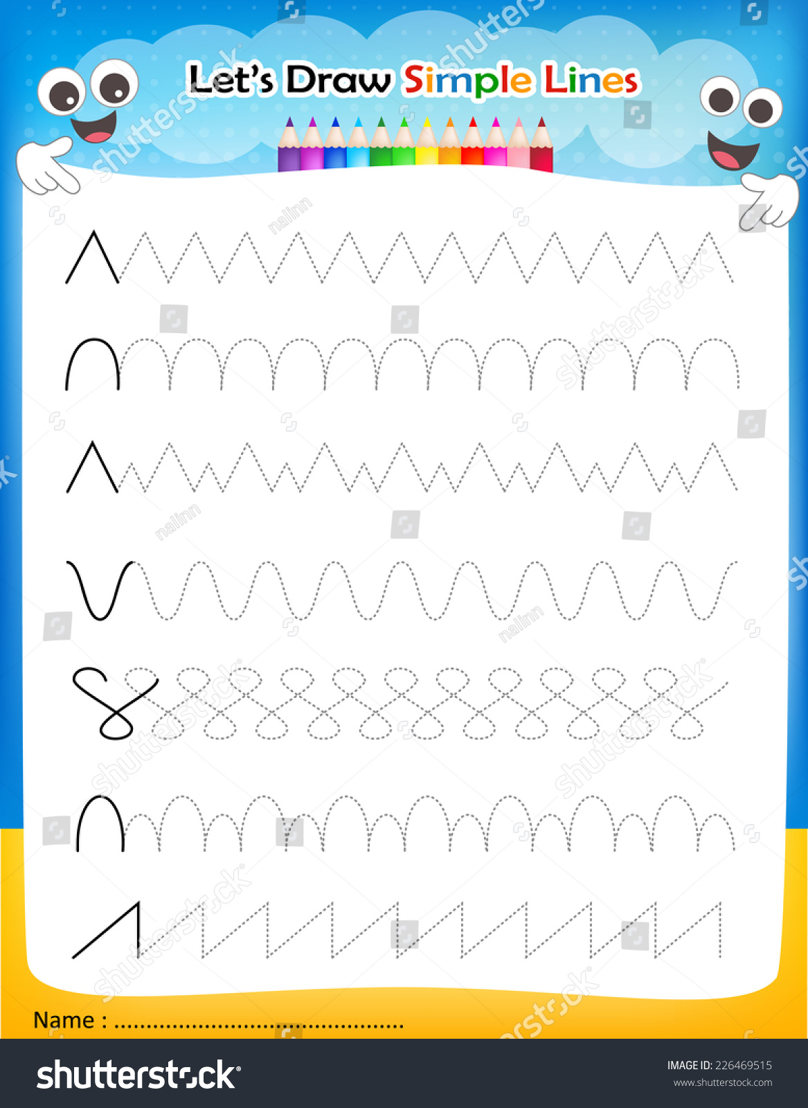 Line Drawing Kindergarten : Lets draw simple lines printable worksheet stock vector