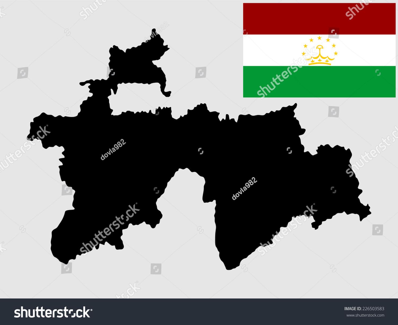 Tajikistan Vector Map Vector Flag High Stock Vector - Tajikistan map vector
