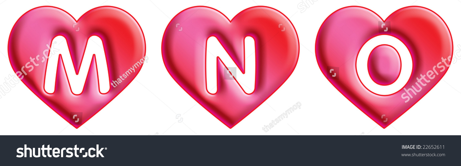 Royalty Free Stock Illustration Of Heart Font Letters M N O Stock