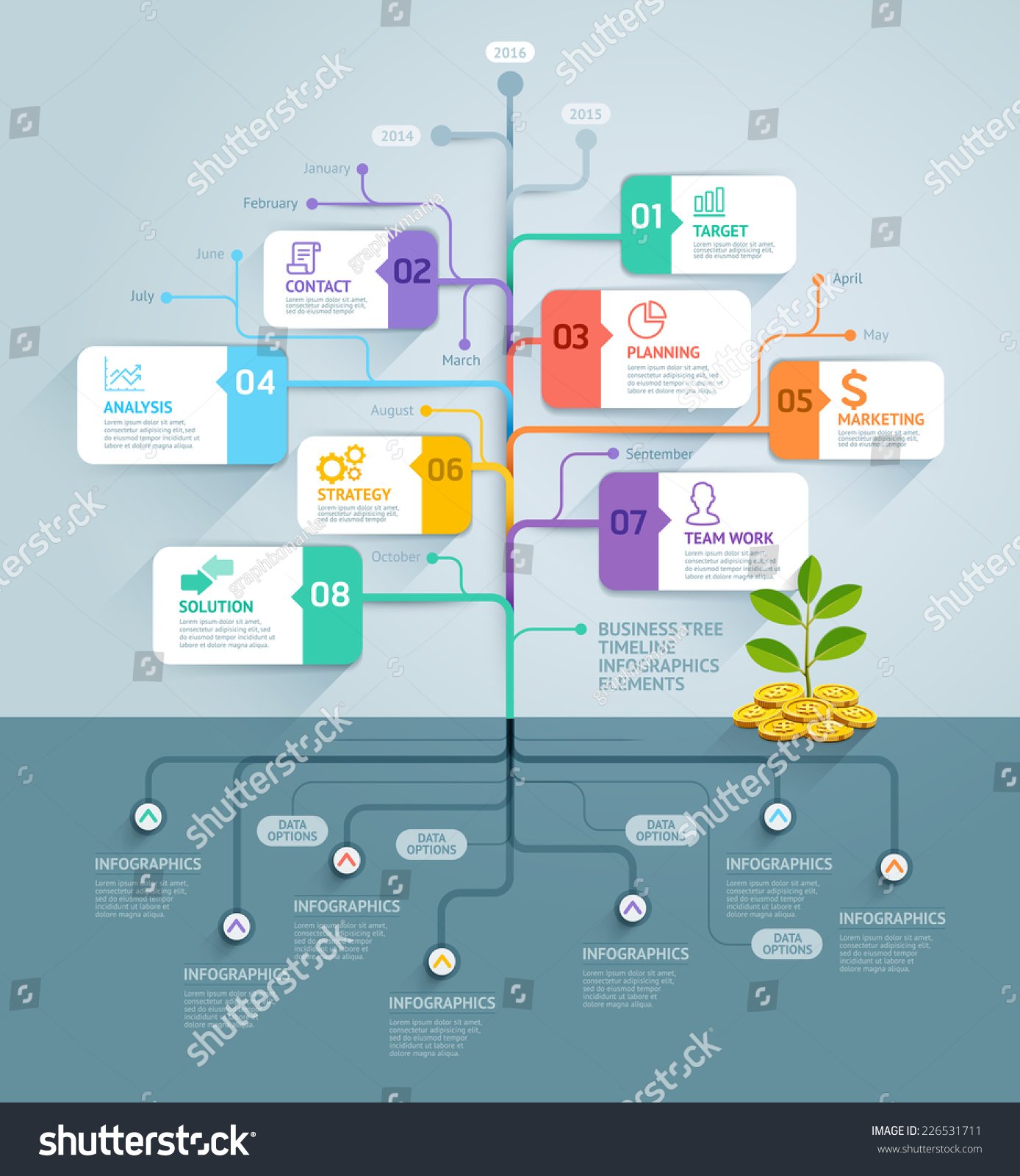 business tree timeline infographics vector illustration のベクター