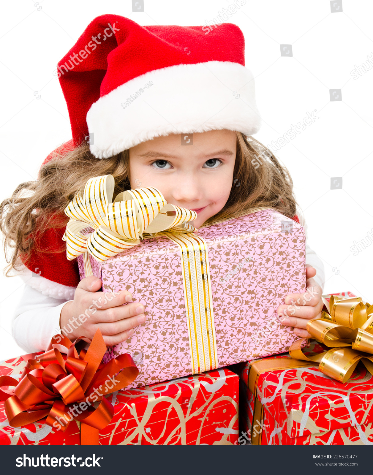 Happy Cute Little Girl Christmas Gift Stock Photo (Edit Now ...