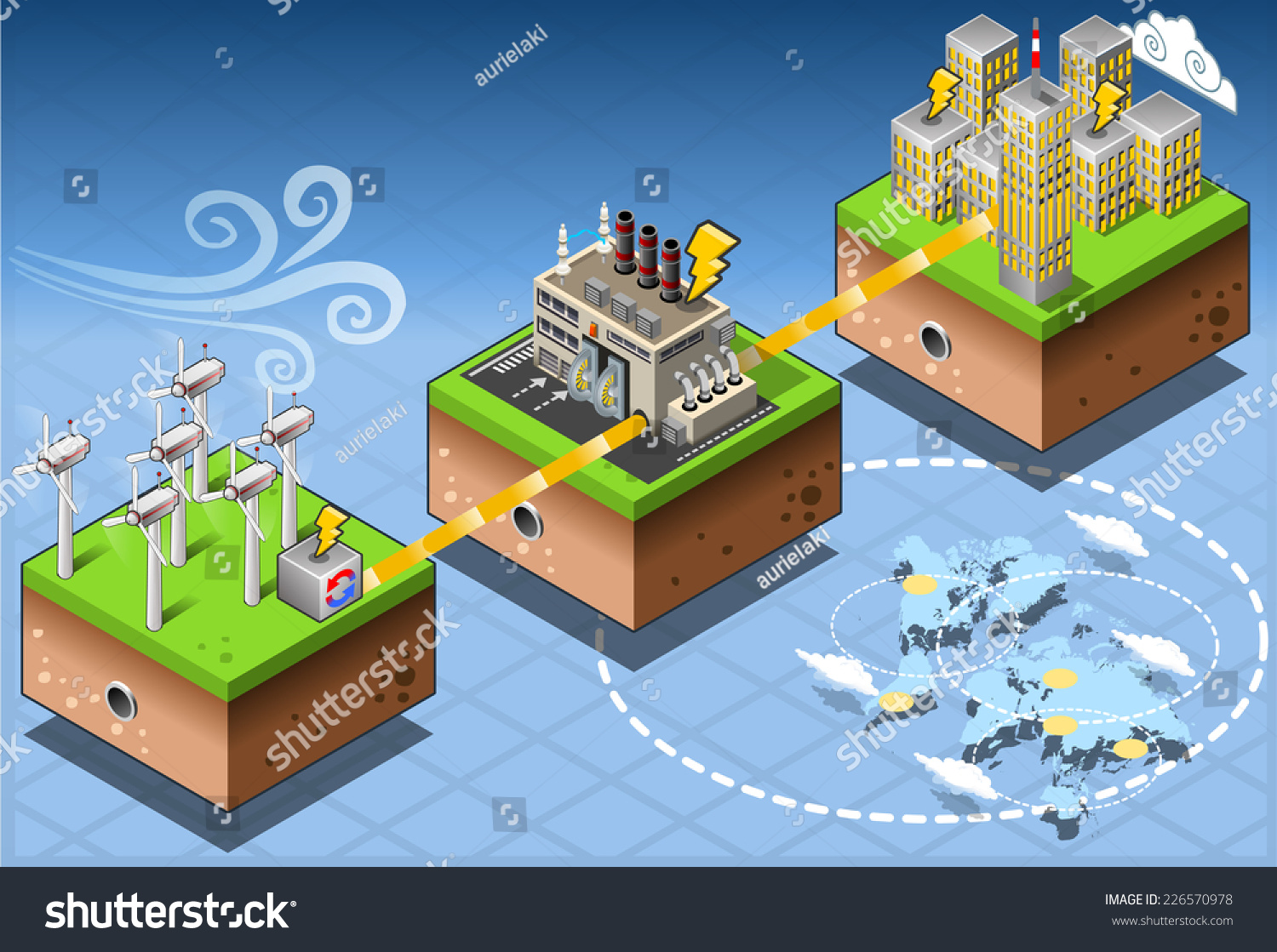 Green Energy Harvesting Ecology Environment Renewable Stock Wind Power Diagram Windmill Source Isometric Infographic