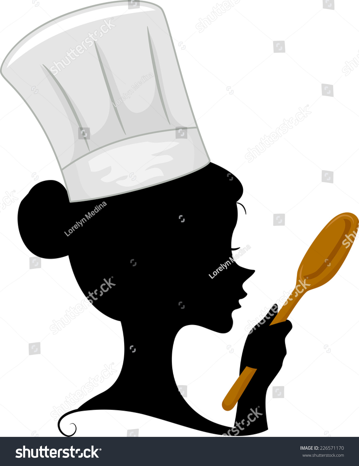Illustration Featuring The Silhouette Of A Female Chef ...