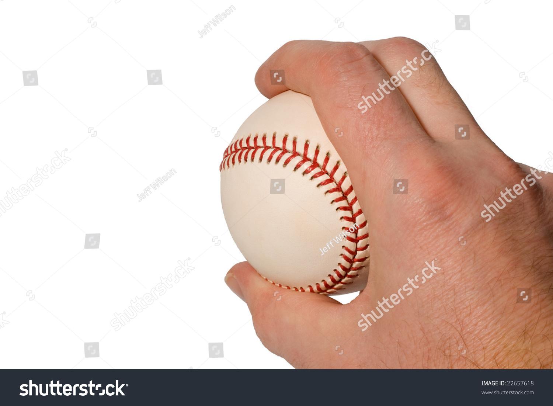 Closeup Hand Holding Baseball Curveball Grip Stock Photo
