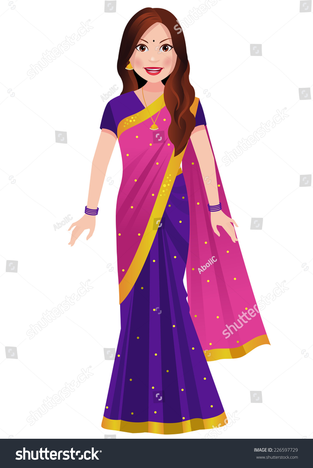 Indian Woman Standing Traditional Half Half Stock Vector ...