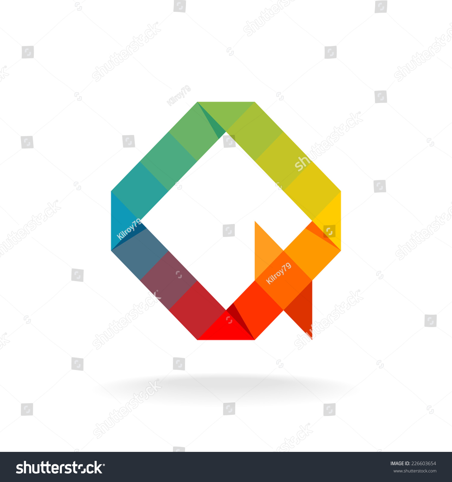 Q letter logo template.Rainbow color flat squares and triangles