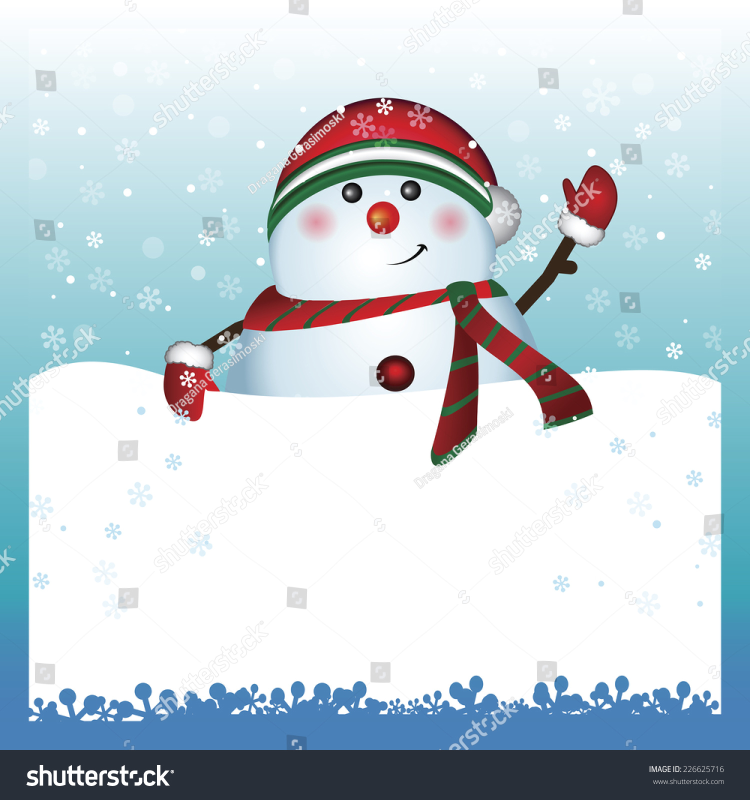 Snowman With Banner Christmas And New Year Text Greeting Card