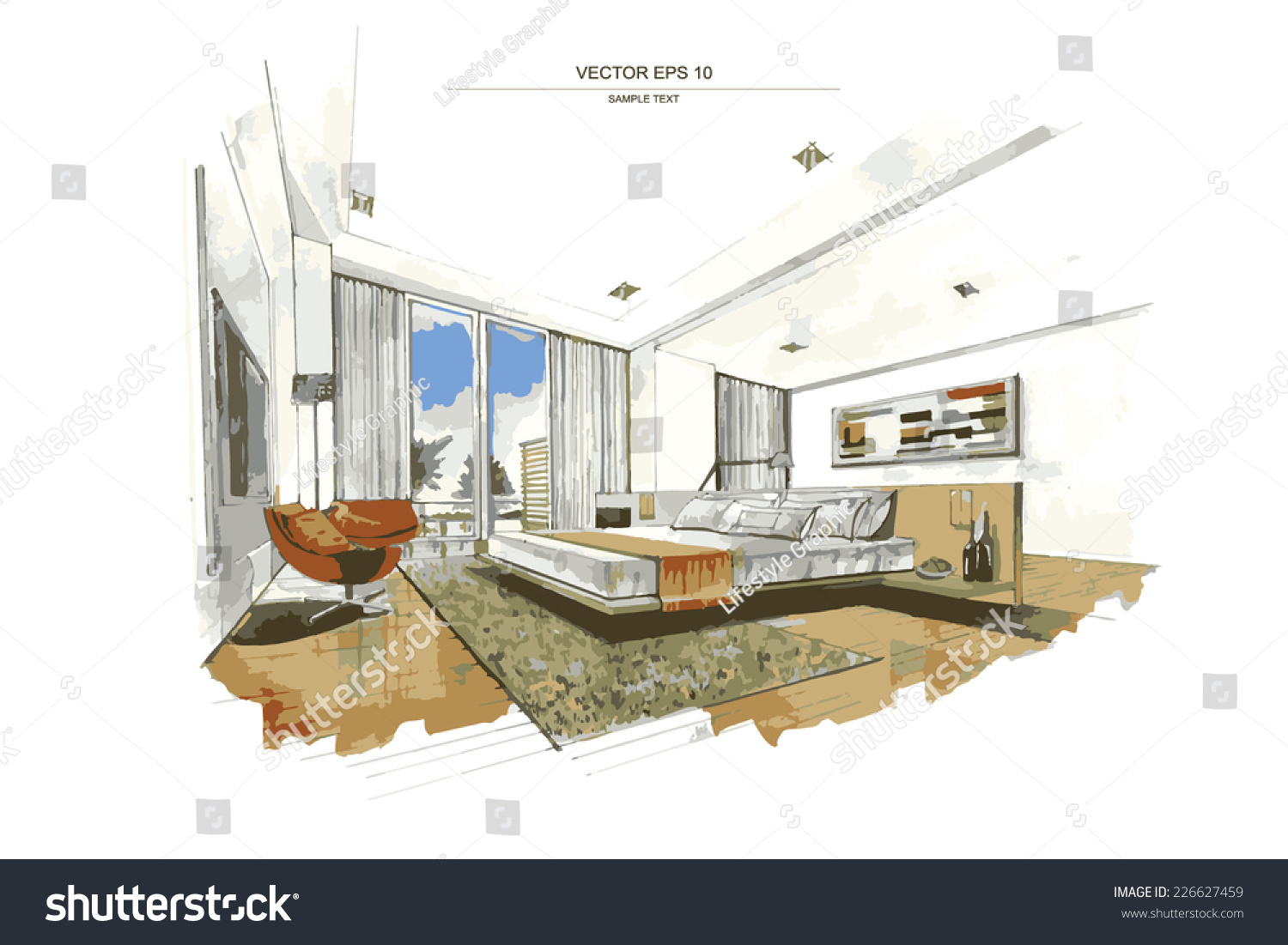 Vector interior sketch design bedroom watercolor stock for How to draw interior designs