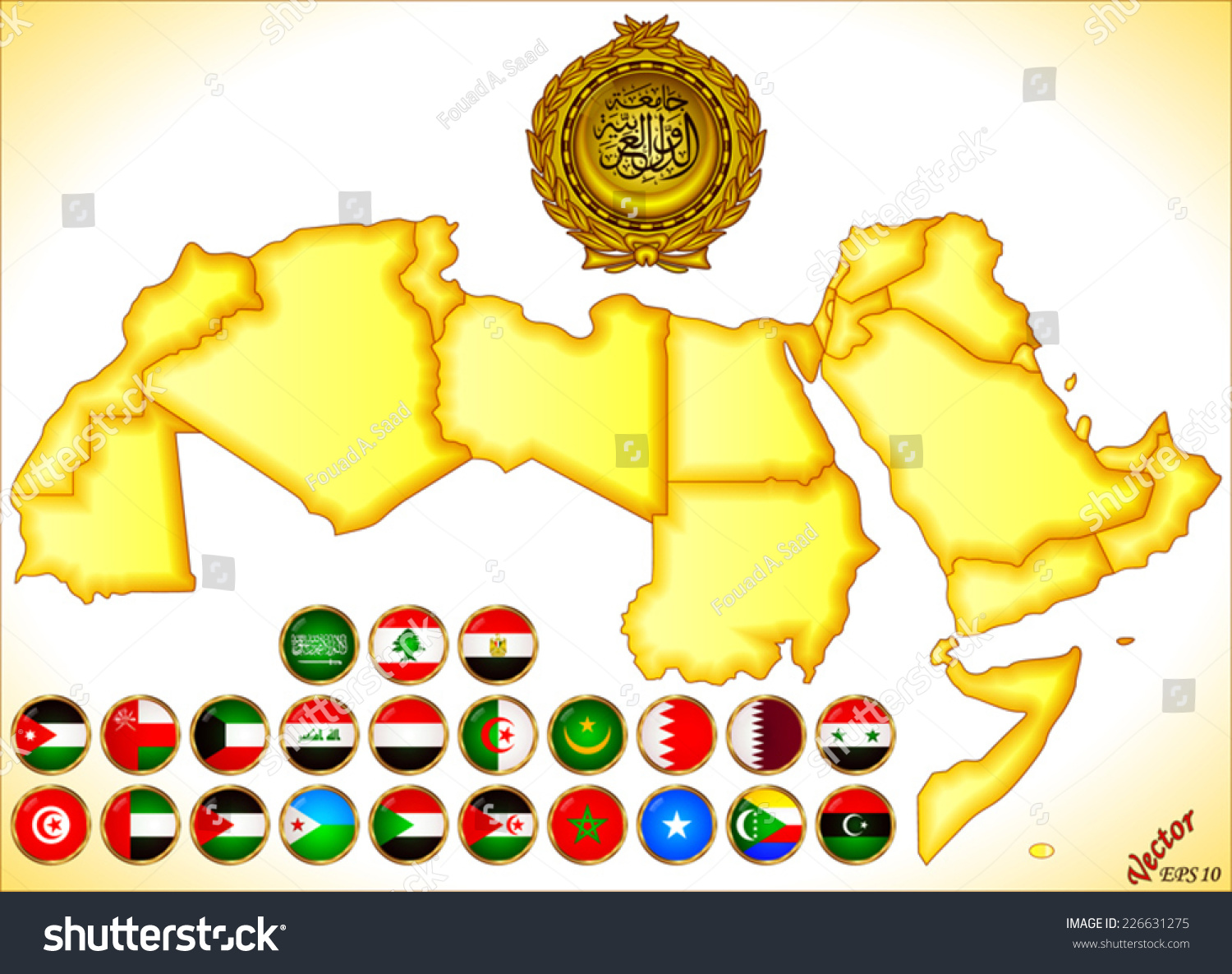 Arab world map flags stock vector 226631275 shutterstock arab world map and flags gumiabroncs Images
