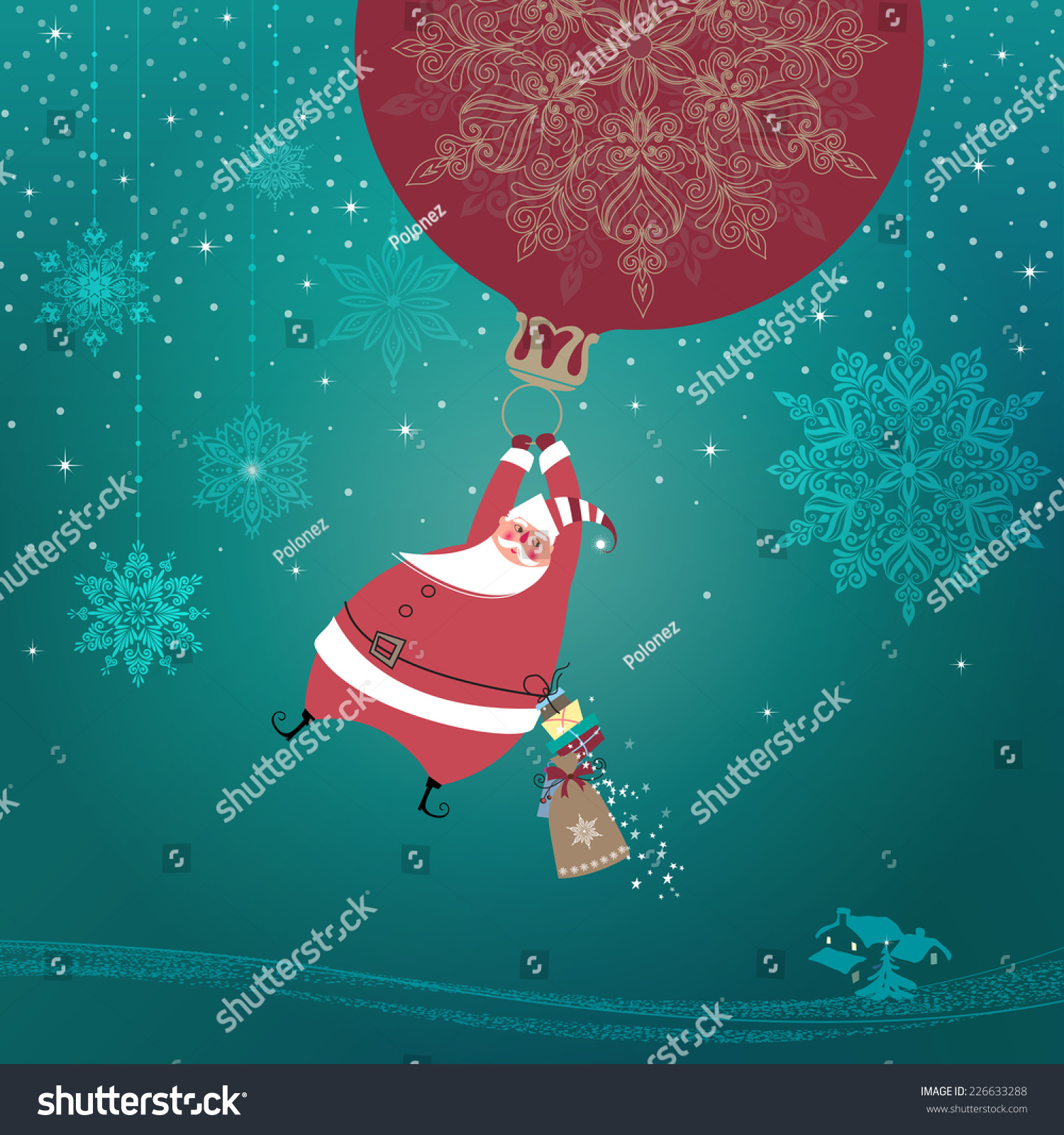 Magic silent night cute santa claus stock vector 2018 226633288 magic silent night cute santa claus with gifts is coming down holding giant christmas ornament m4hsunfo Images