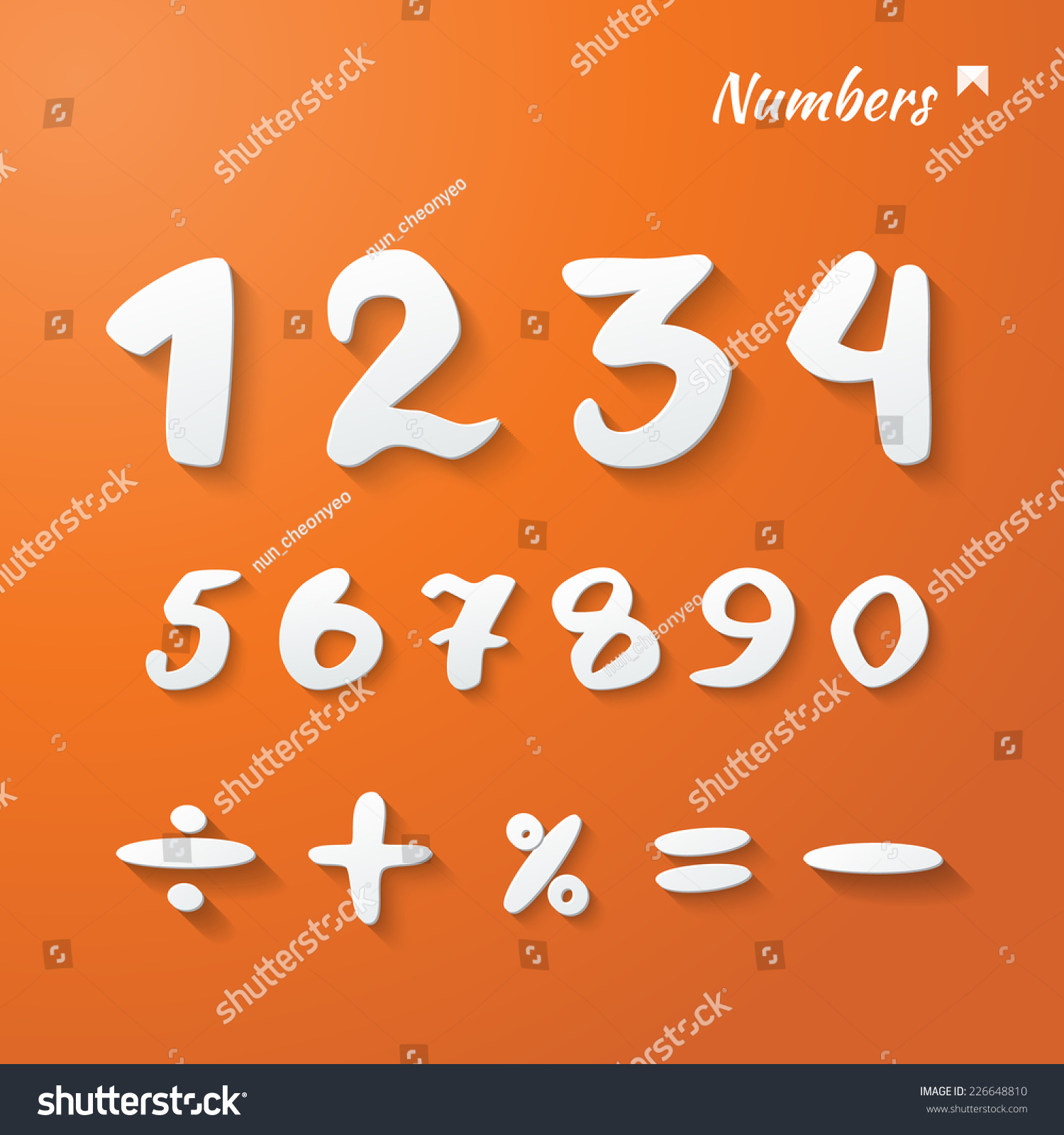 Vector numbers mathematical signs hand lettering stock vector vector numbers and mathematical signs hand lettering paper 3d style orange background with shadows biocorpaavc