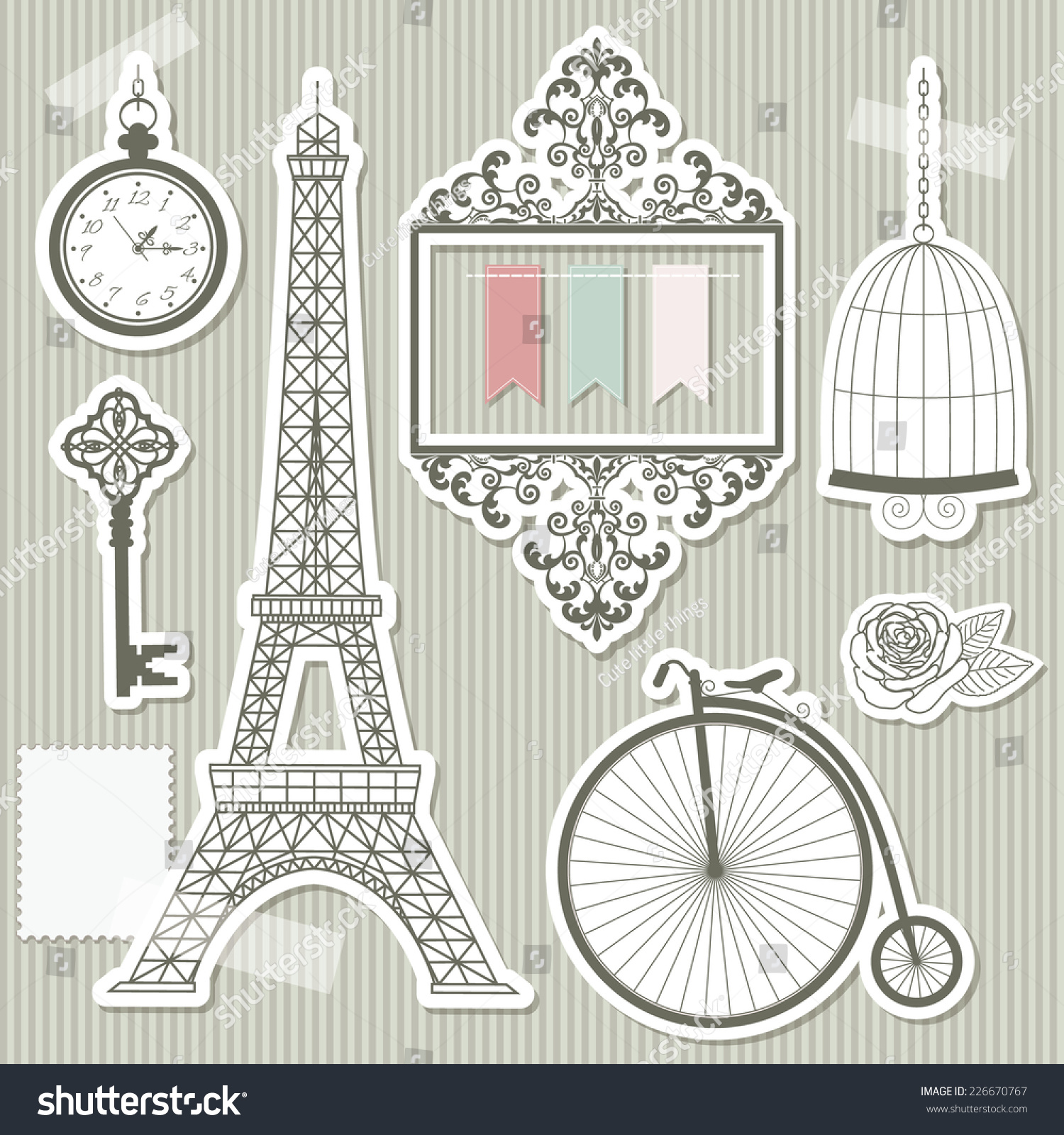 vintage objects silhouettes paper cut frame eiffel tower bike bird cage