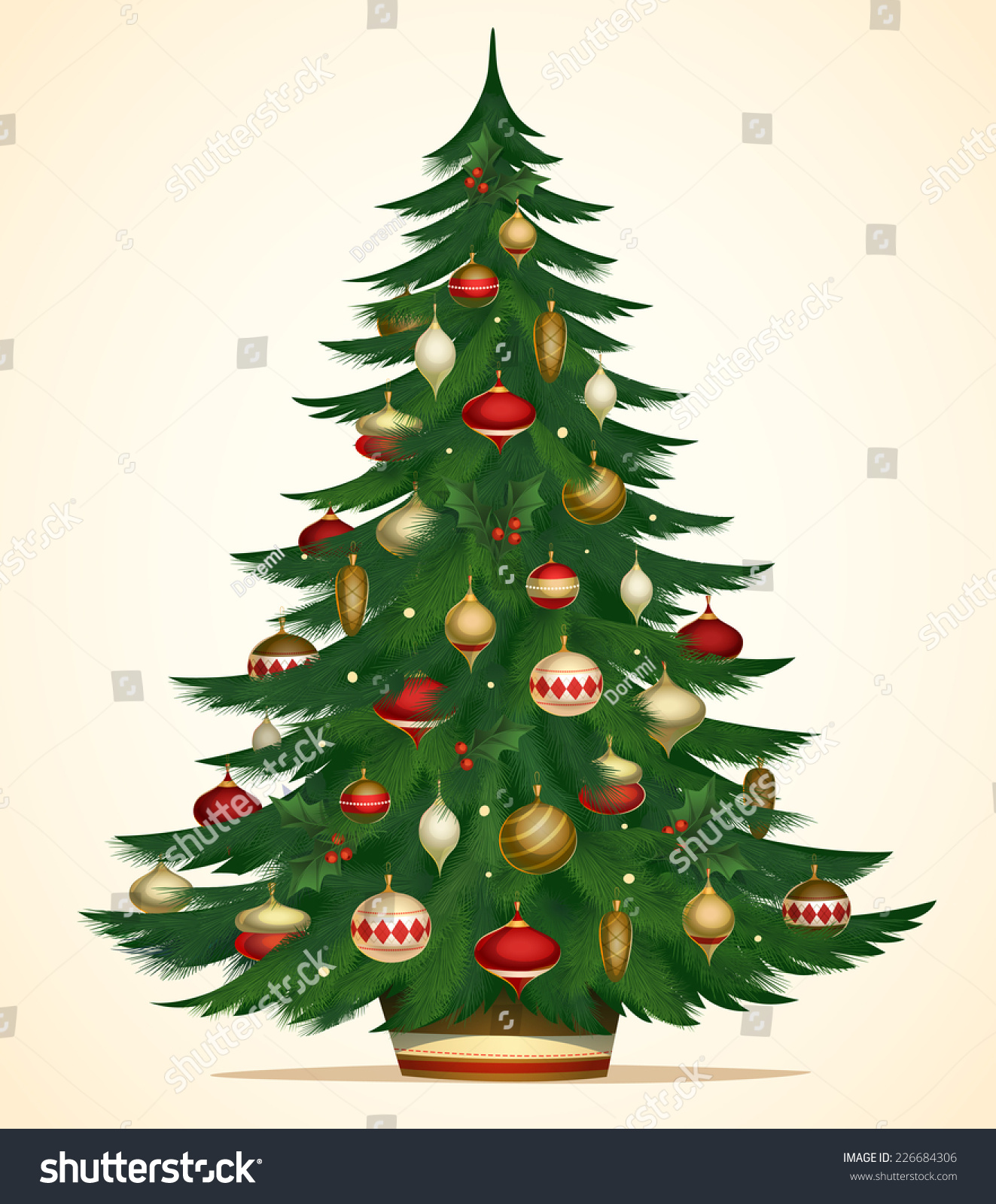 Christmas tree card poster banner vector stock