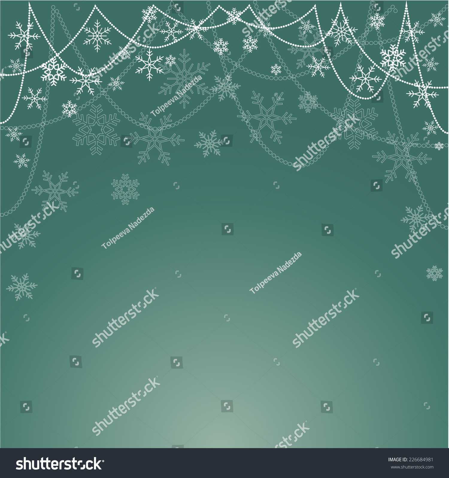 Vintage Blue Background Snowflakes On String Stock Vector Royalty