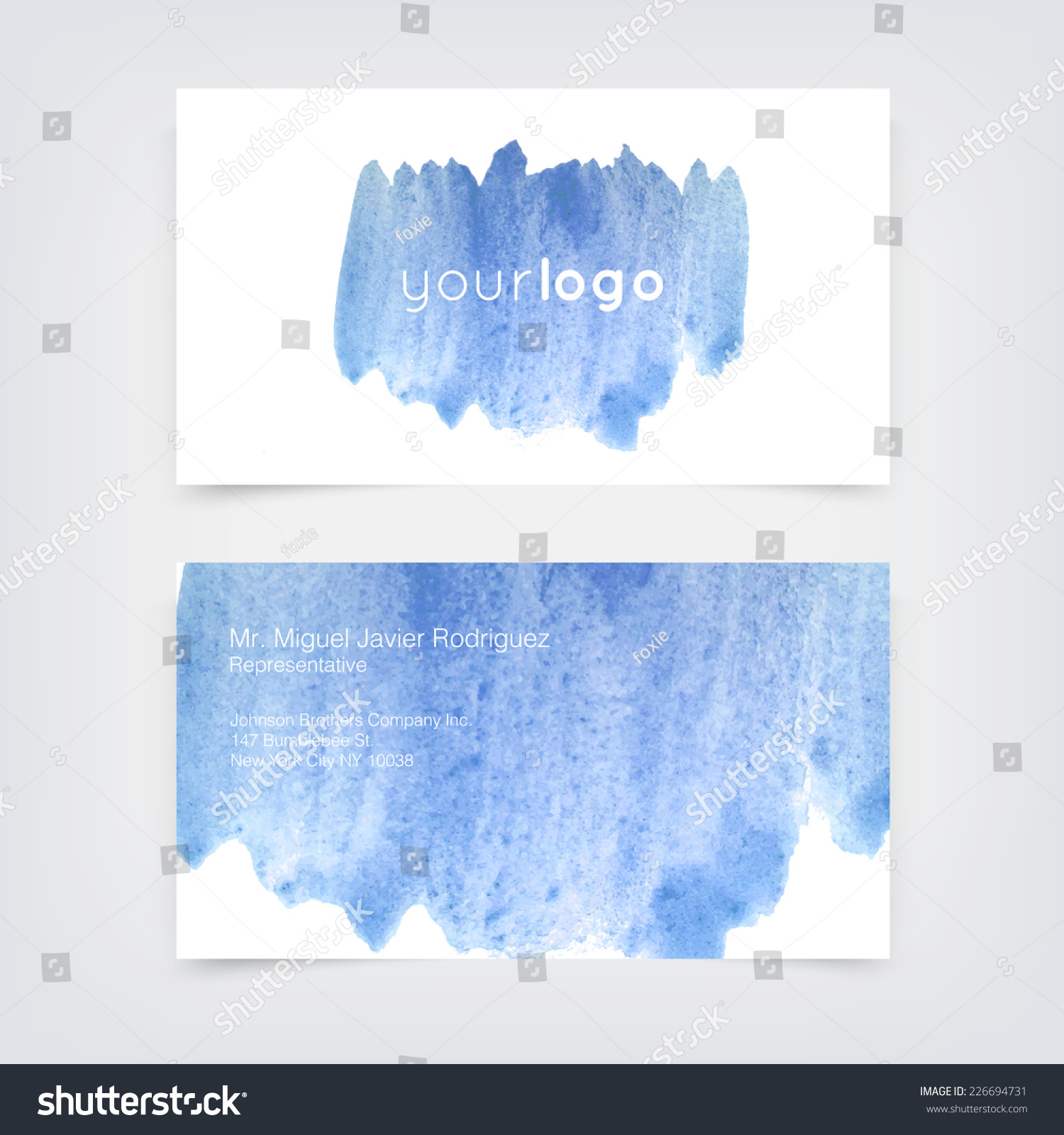 Vector Business Card Design Template Blue Stock Vector