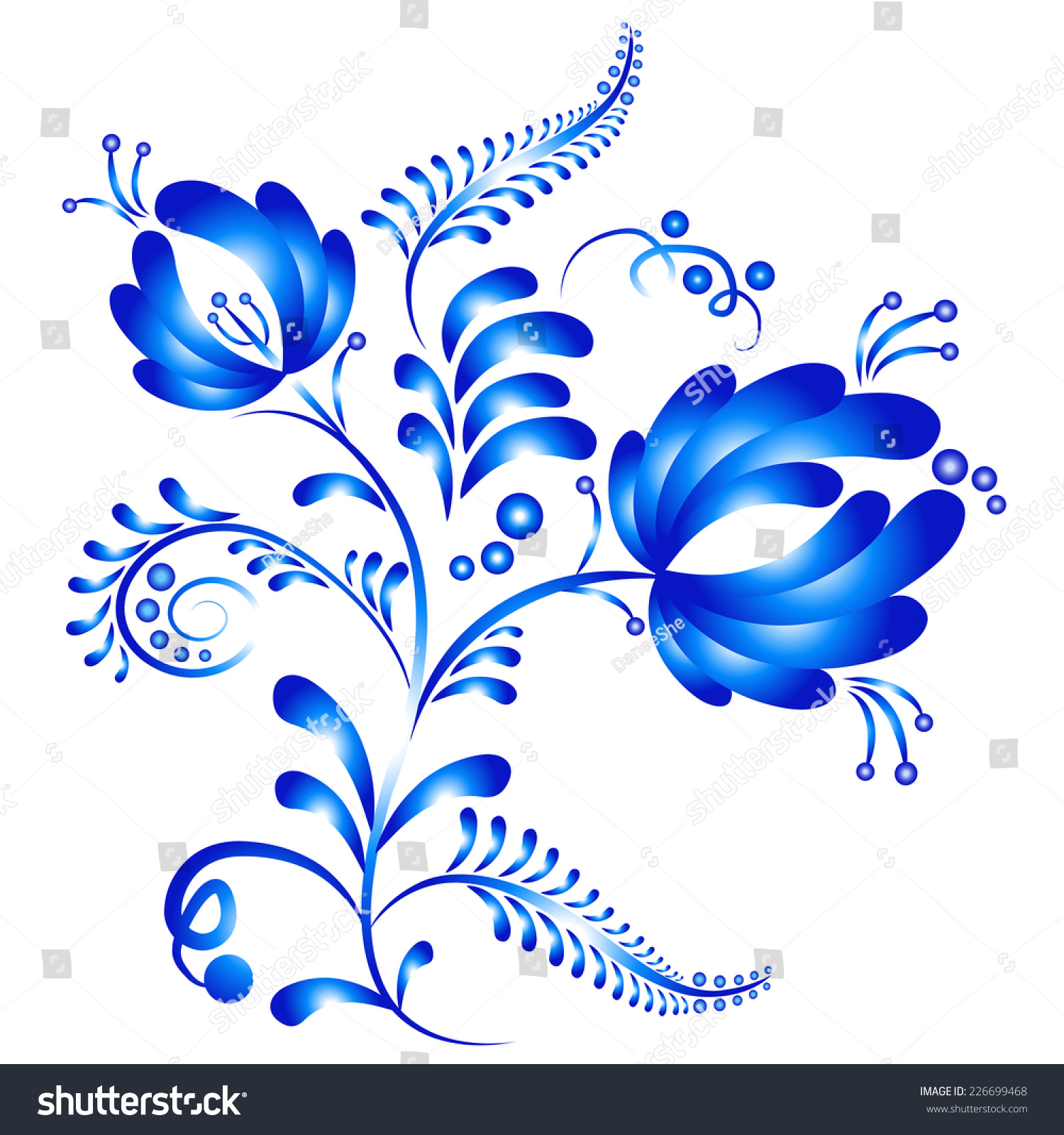 Artistic floral element abstract gzhel folk art blue flowers stock - Floral Ornament In Gzhel Style Russian Folklore Blue Gzhel Flowers Isolated On White
