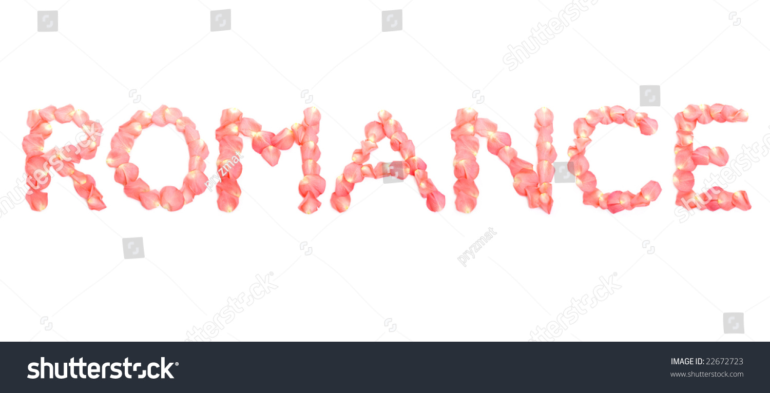 Romance Word Arranged From Pink Rose Petals Over White ...