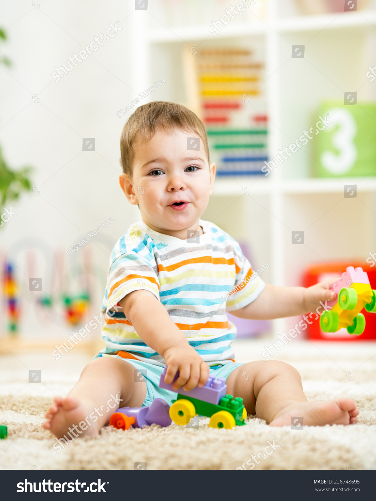 Child Boy Playing Building Blocks Home Stock