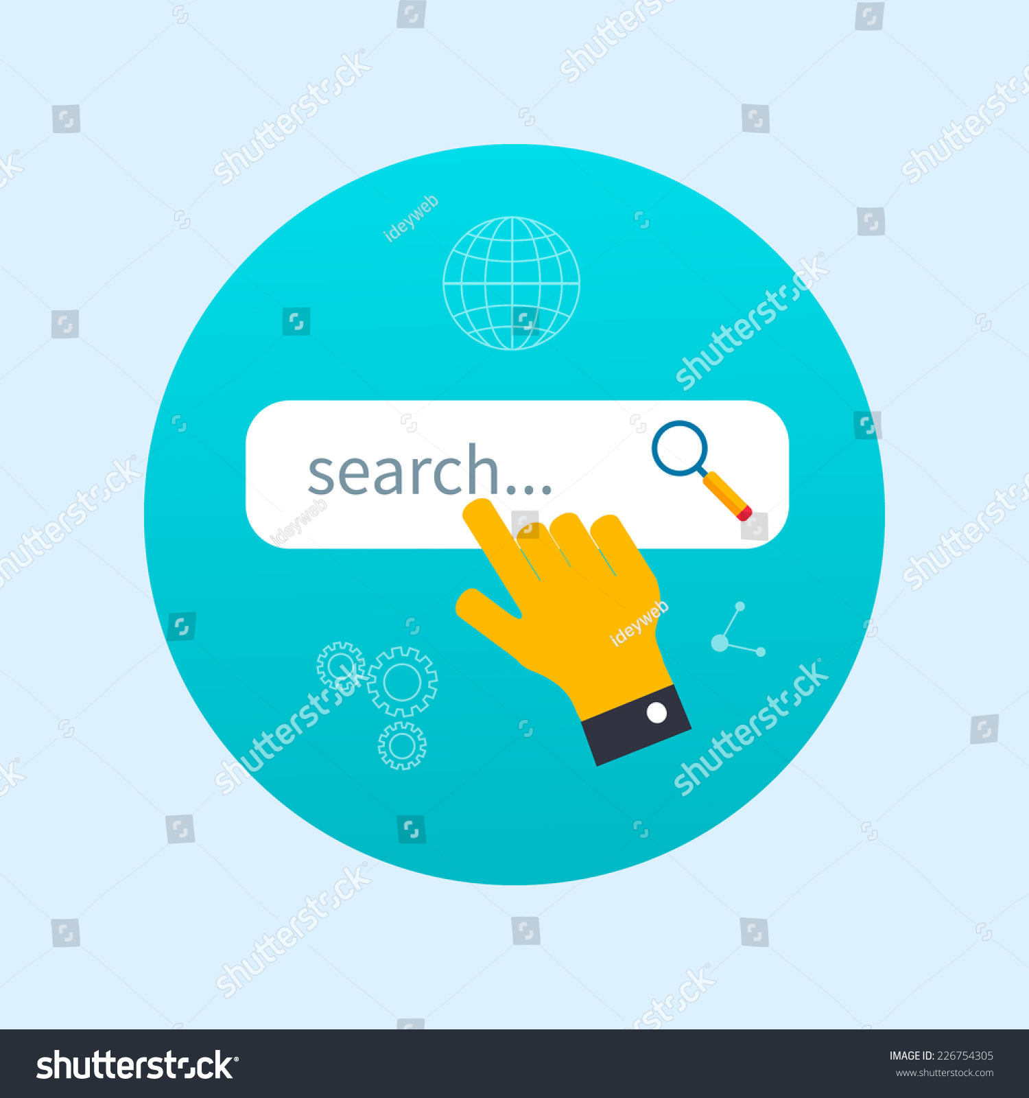 internet search concept with search box - vector modern illustration