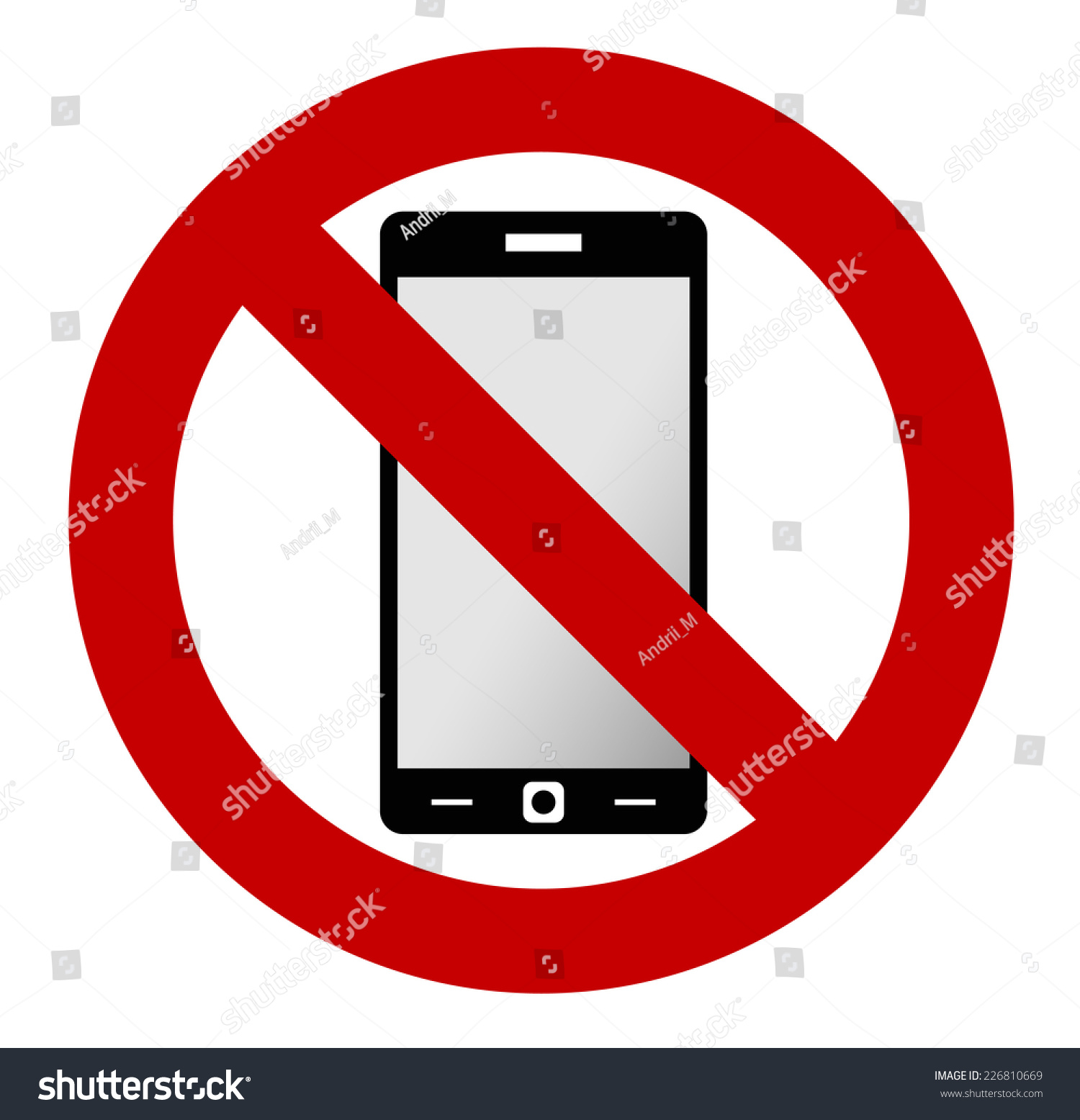 No Mobile Phone Allowed Sign Turn Stock Vector 226810669 ...