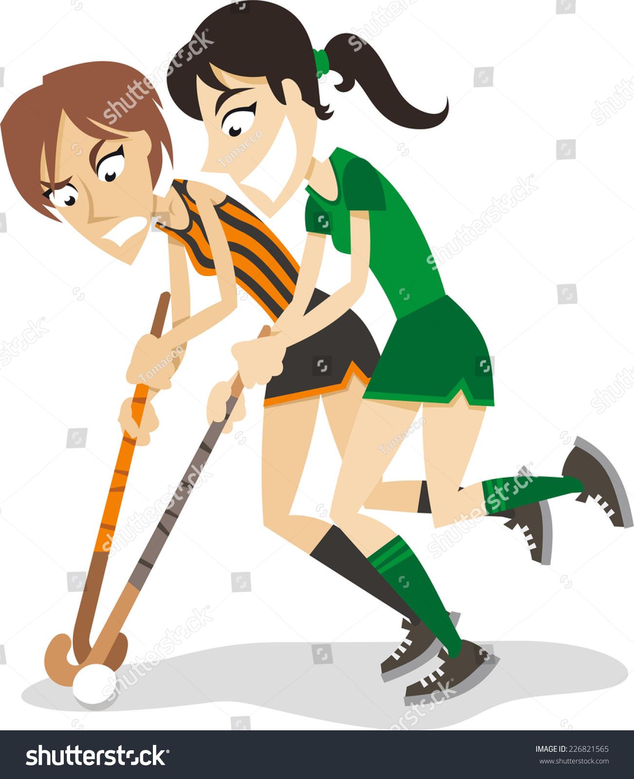 Women Hockey Players Cartoon Stock Vector Royalty Free 226821565