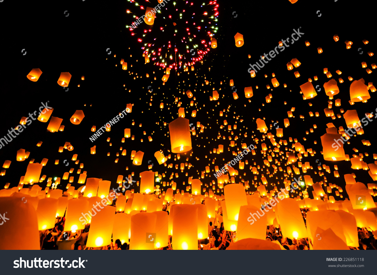 Flying Sky Lantern On Yeepeng Festival Stock Photo 226851118 ... for Flying Lantern Lights  584dqh